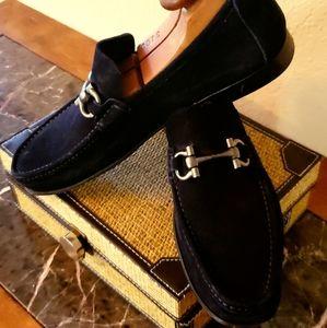Ferragamo loafers dark blue authentic